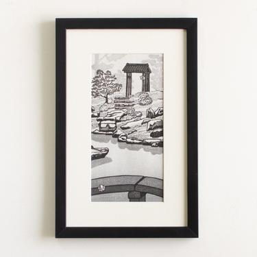 """Vintage Original Artwork Signed by Artist Gihachiro Okuyama Framed Mid Century Japanese Woodblock Print Titled """"Shōren-in Temple"""" by HouseofSeance"""