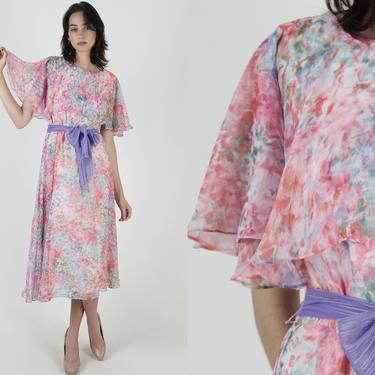 Watercolor Print Chiffon Dress / Vintage 80s Bright Pink Floral Dress / 1980s Thin Tiered Capelet / Outdoor Party Waist Tie Midi Maxi by americanarchive
