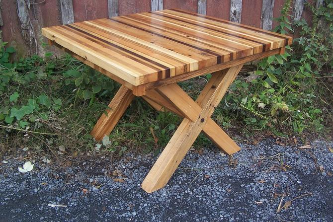 Colorful Reclaimed Wood Butcher Block Dining Table by BarnWoodFurniture