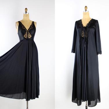 70s Olga Black Lace Nightgown Peignoir Set / Olga Slip dress / Wedding Lingerie / Vintage Nightgown / Grand Sweep /Size S/M by PARASOLvintage