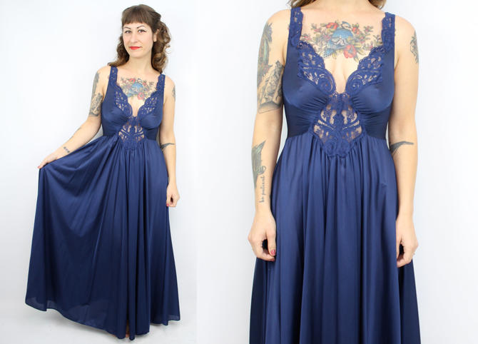 a8b63fbe0 Vintage 70  39 s Navy Blue OLGA Night Gown   1970  39 s Lingerie ...