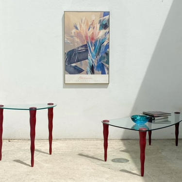 Glass Post Modern Wavy Leg Coffee or Side Table