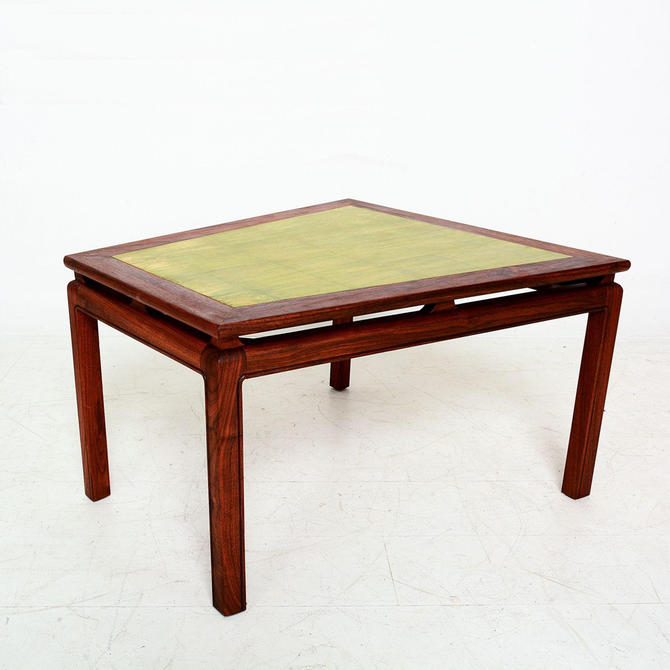 Mid Century Modern Walnut Wedge Side Table with Gold Leaf Style of Dunbar by AMBIANIC