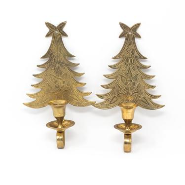 Pair of Vintage Brass Wall Sconces, Decorative Tree Sconces for Taper Candles by GreenSpruceDesigns