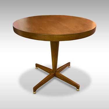 Round Modern Walnut Pedestal Table with Ball Feet, Circa 1960s - Please ask for a shipping quote before you buy. by CoolCatVintagePA