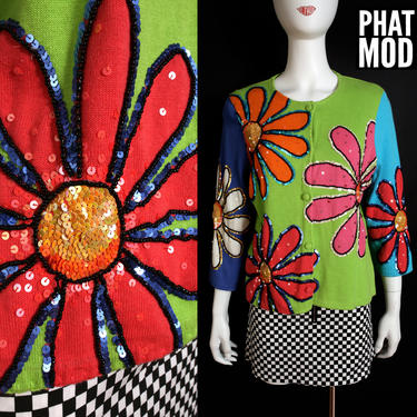 FAB Y2K Michael Simon Sequined Flower Power Colorful Cardigan Sweater by RETMOD