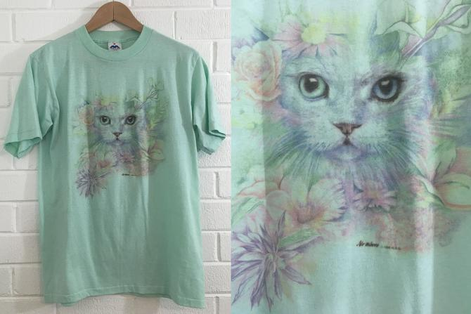 Vintage Cat T-Shirt Water Color Floral 90s 1990s 1990 HGO USA Short Sleeve Blue Hipster Retro Large L Medium Unisex Cats Kitten Kittens by CheckEngineVintage
