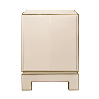 Jansen 2 Door Cabinet in Ivory Lacquer with Brass Trim 1975 (Signed)
