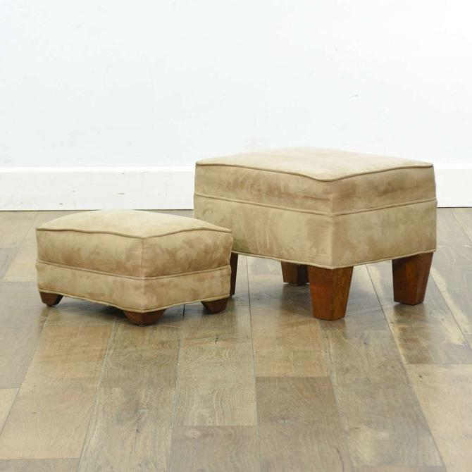 Pair Contemporary Craftsman Sueded Ottomans