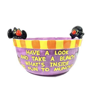 90's Ceramic Halloween Bowl/Vintage Halloween Spooky Handmade Ganz Bowl/Vintage Ceramic Bowl/Holiday Halloween Decor/Candy Bowl Halloween by DakodaCo