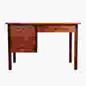 A Mid Century Modern Walnut Compact 3-Drawer Desk