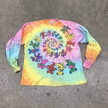 Vintage Grateful Dead Tee Retro 1980s Tie Dye Bears + Dead Head + Long Sleeve + Size XL + Jam Rock + Psychedelic + Unisex Apparel by RetrospectVintage215