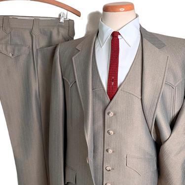 Vintage DALLAS WESTERN APPAREL 3pc Suit ~ 41 R ~ Jacket / Pants / Vest ~ Cowboy / Rockabilly ~ Wedding ~ 40 Regular by SparrowsAndWolves