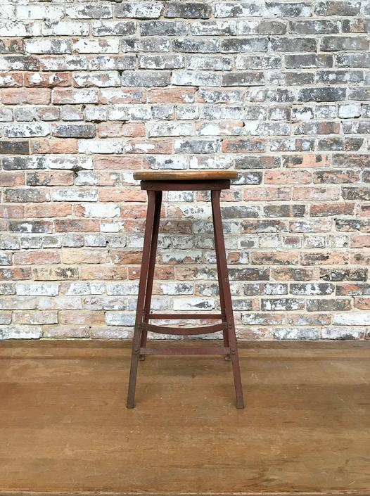 Industrial School Shop Stool Garage Seating Angle Iron and Wood by NorthGroveAntiques