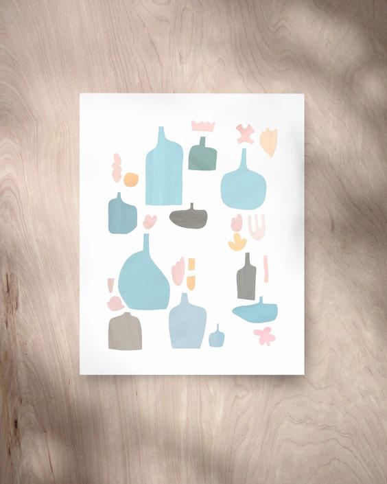 Blue Bottles (Giclée Fine Art Print) Pastel Abstract Art, Cherry Blossoms, Modern Collage Reproduction by MorningPortal