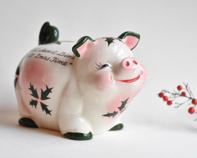 "Piggy Bank Christmas Kreiss-Style Handpainted in Japan 1950s | ""Save a Nickel Save a Dime"" by LostandFoundHandwrks"
