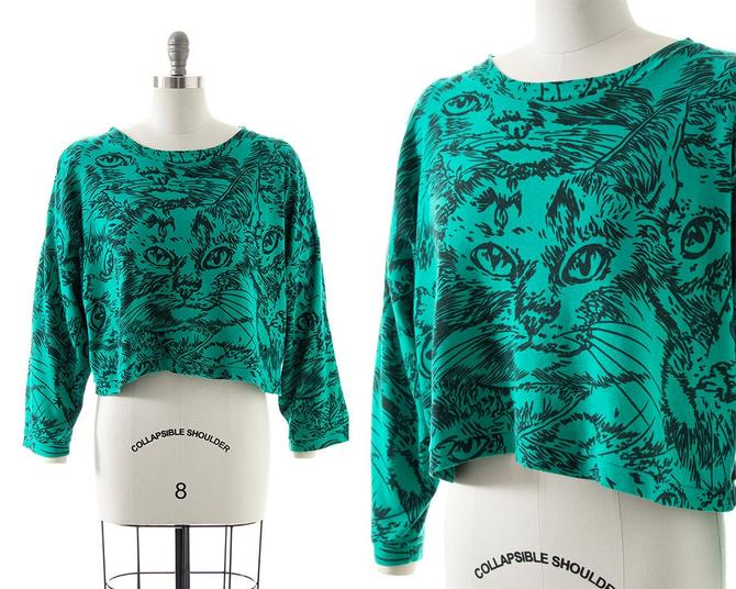 Vintage 1980s 1990s Sweatshirt | 80s 90s Cat Face Novelty Print Cotton Green Cropped Boxy Slouchy Graphic Pullover Sweater Top (small-xl) by BirthdayLifeVintage