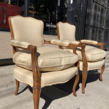 Charming Comfort   Pair of Vintage French Bergere Chairs