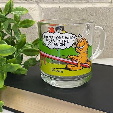 Vintage Garfield Mug Retro 1980s McDonalds + Clear Glass + Vinyl Image + Garfield and Friends + Coffee or Tea + Collectable + Kitchen Decor by RetrospectVintage215