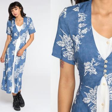 Blue Floral Dress Midi Grunge Button Up Dress White Boho 90s Bohemian Sheath 1990s Short Sleeve Vintage Garden Party Medium by ShopExile
