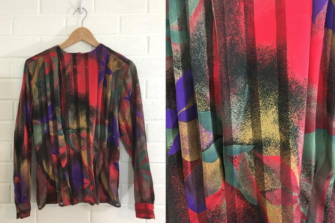Vintage Abstract Top Blouse Red Green Purple 80s 1980s Long Sleeve Fitted Structured Sheet Shirt Tess Petite Women's Size 6P 6 Small S XS by CheckEngineVintage