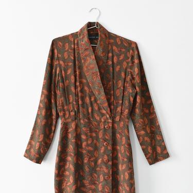 vintage silk leaf print dress, 90s wrap dress, size S by ImprovGoods