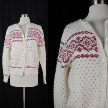 Vintage Seventies Deans of Scotland Fair Isle Cardigan - 70s Wool Angora Knit Sweater - Large White Pink Cardigan Sweater by JanetandJaneVintage