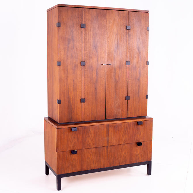 Milo Baughman for Directional Mid Century Walnut Armoire Gentleman's Chest - mcm by ModernHill