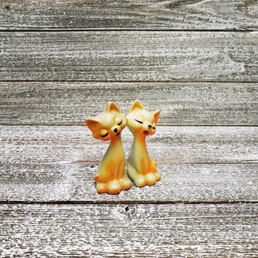 Vintage Cat Figurines, Bright Orange Cats, Tall Sitting Kitty Cats, Retro Cat Decor, Vintage Cat Lover Collectible, Vintage Home Decor by AGoGoVintage