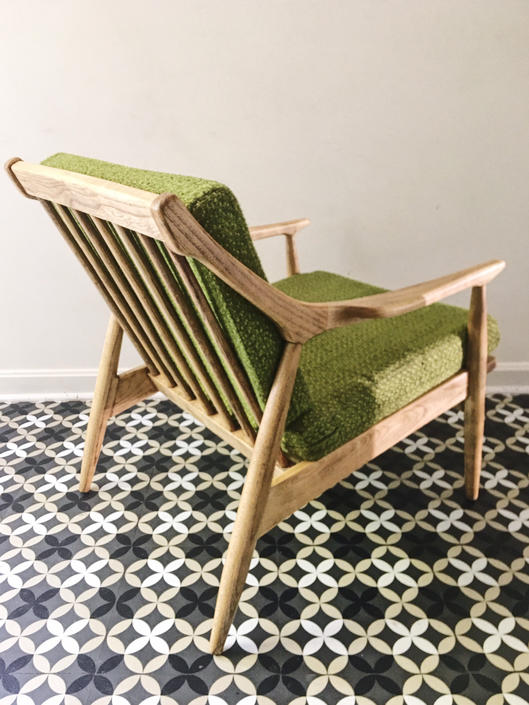 All Original Oak Arm Chair American Mid Century Modern Vintage Boucle Fabric by CaribeCasualShop