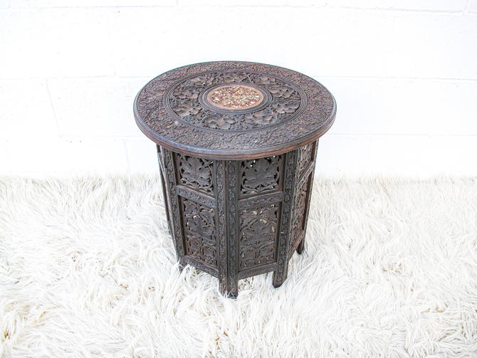 Gorgeous Hand-Carved Vintage Bohemian Solid Wood Folding Side Table by PortlandRevibe