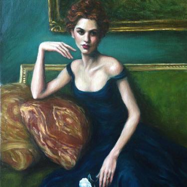 Female Figurative, Art Print from Original Oil Painting by Pat Kelley. Portrait of Woman in Blue Dress, Fashion Art, Romantic Art by PatKelleyStudio