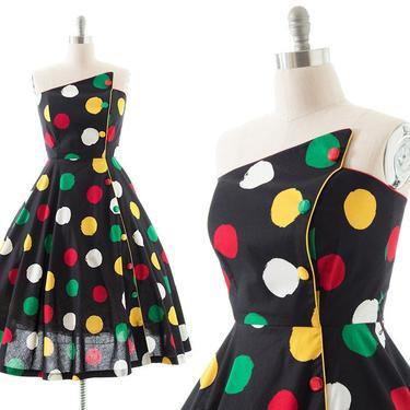 Vintage 1980s Sundress   80s Colorful Polka Dot Printed Black Cotton Strapless Circle Skirt Fit Flare Midi Dress w/ Pockets (medium/large) by BirthdayLifeVintage