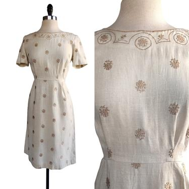 Vintage 60s floral embroidered linen sheath dress| tan with beige flowers by Vintagiality