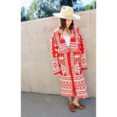 Knit Cardigan Sweater // vintage 70s 80s hippie dress blouse hippy 1970s red oversize white southwestern blanket coat jacket // O/S by FenixVintage