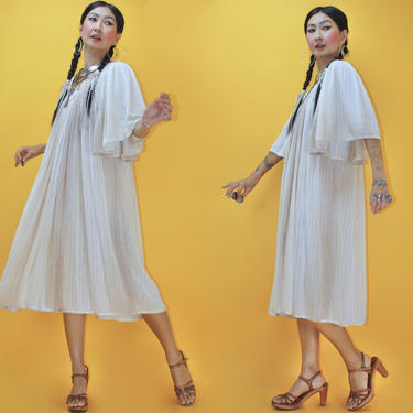 Vintage 1970s Grecian Cotton Rayon Beige Ombré Tent Dress /Fits All Sizes/ 70s 1960s 60s Bell Sleeves Greek Gauze Lurex Kaftan Boho Hippie by TheeAppleBoutique