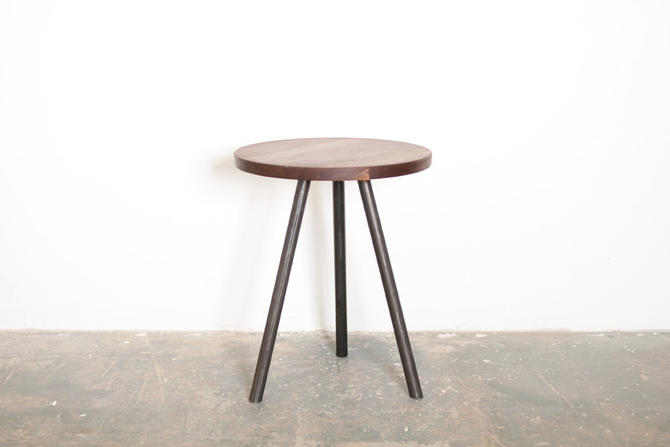 Indy Side Table - Solid Black Walnut Top with Steel tripod Base by dylangrey