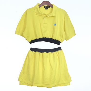 2pc Yellow knit polo dress
