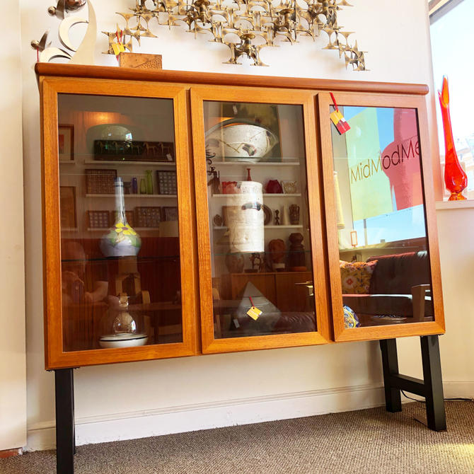 Danish Teak Display On Custom Steel Base