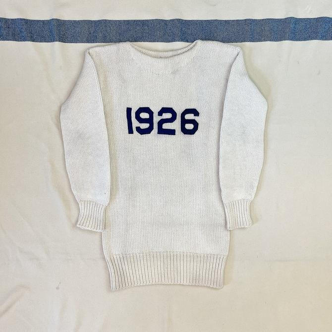 Size Small Vintage 1920s 1926 Wool Cream Sweater with Blue Wool Felt Numbers by O'Shea Knitting Mills by BriarVintage