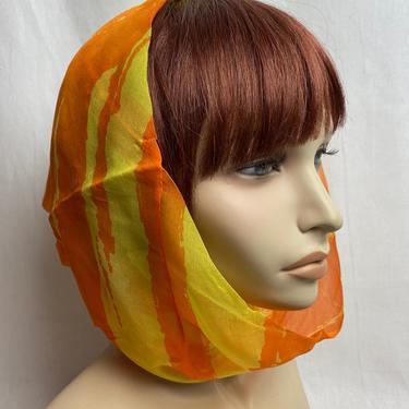 60's Silk~ funnel neck scarf/ head scarf~ Groovy bright orange & yellow ~ retro Mod 1960s fiery colors by HattiesVintagePDX