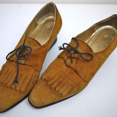 Caramel Suede Brogue Loafer Heels by citybone