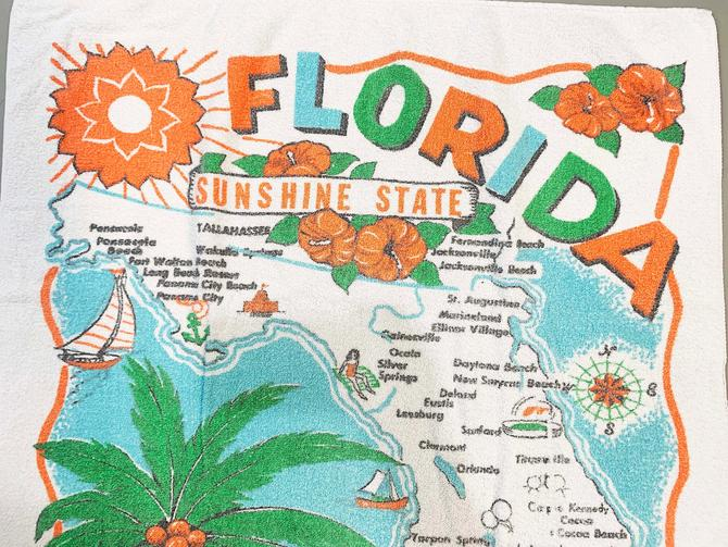 Vintage Florida Beach Towel Map Souvenir Cotton Swimming Pool Kid's Children's Cute Kitsch Kawaii Mid Century Retro by CheckEngineVintage