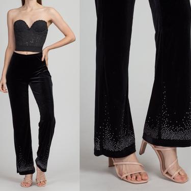 Y2K Jessica McClintock Black Velvet Sparkle Pants - Small | Vintage 00s High Waist Painted Rhinestone Trousers by FlyingAppleVintage