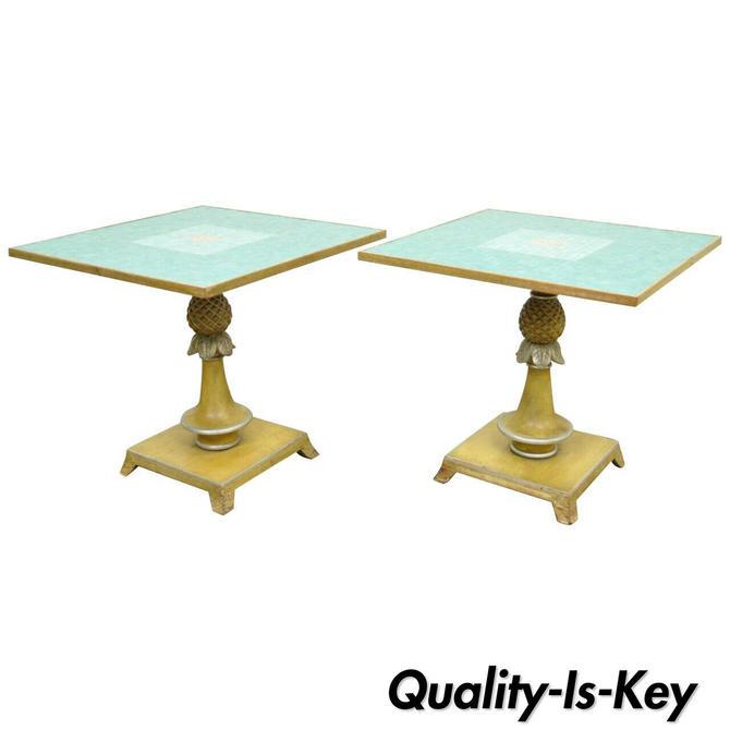 Pair of Italian Carved Wood Blue Tile Top Pineapple Pedestal Tables Jansen Era