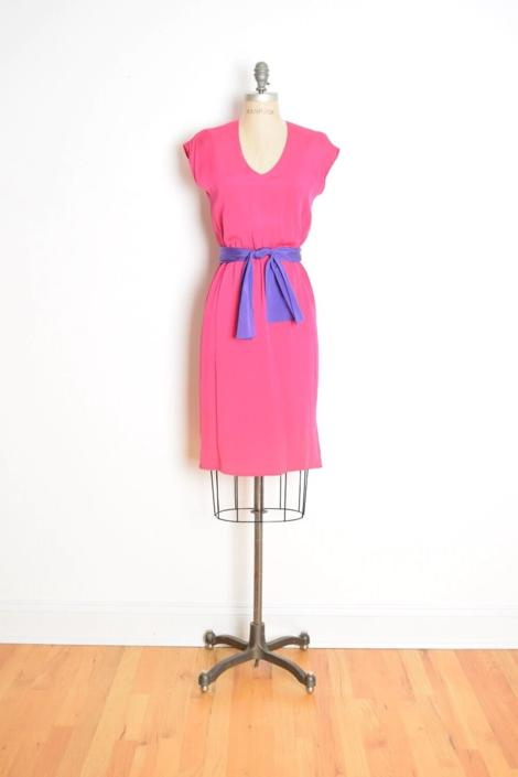vintage 80s dress magenta pink purple belt simple color block dress S clothing by huncamuncavintage