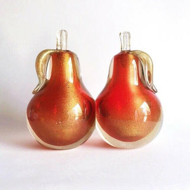 Vintage Archimede Seguso Red & Gold Sommerso Murano Glass Pear Bookends, 1950s by templeofvintage