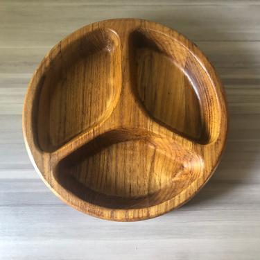 Vintage Dansk teak wood divided bowl Hors d'Oeuvres Divided Tray by Jens Quistgaard by PKFlamingoVintage