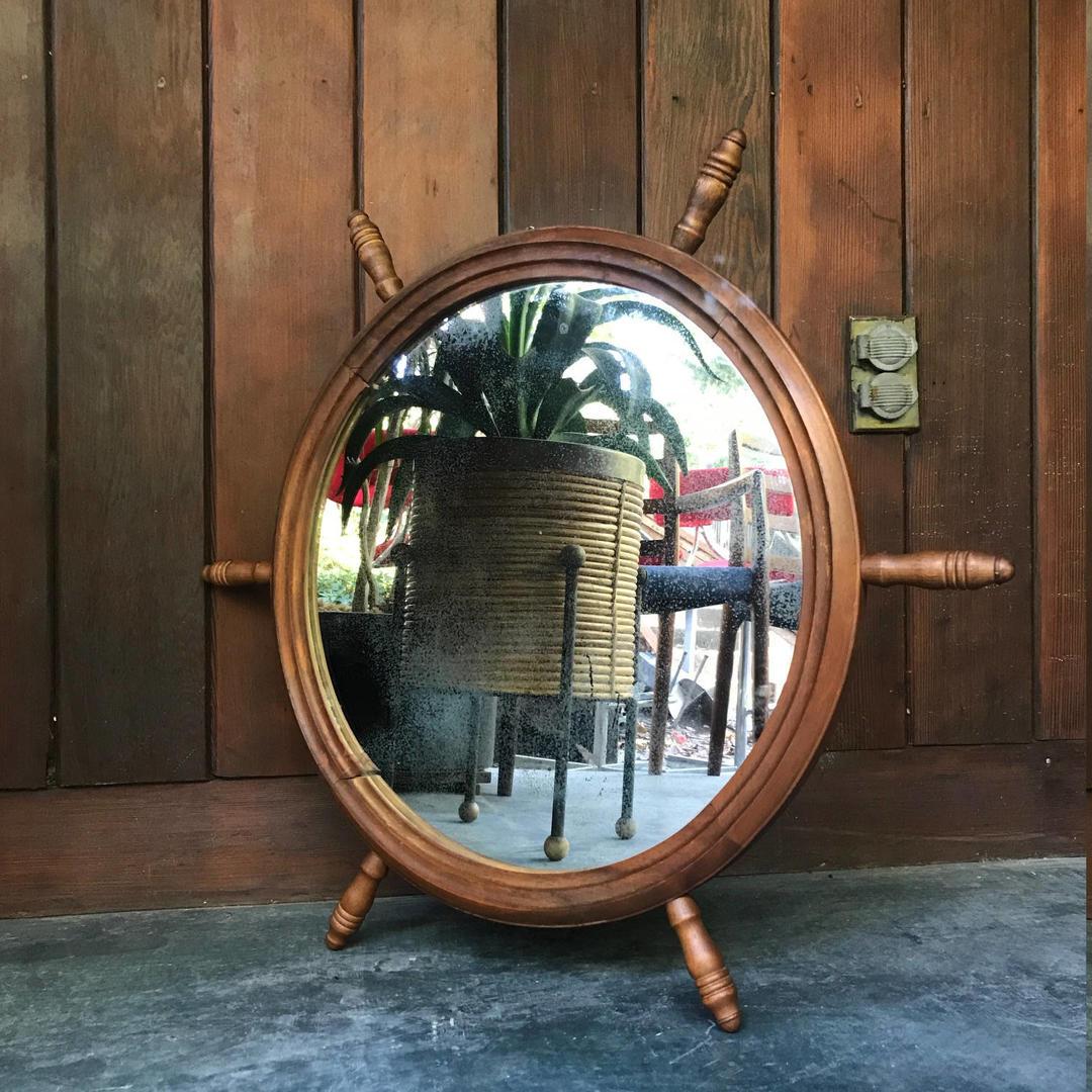 Vintage 1960s Nautical Ships Wheel Wall Mirror Mid-Century