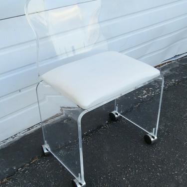 Mid Century Modern Vintage Lucite Vanity Desk Side Chair Stool 1810